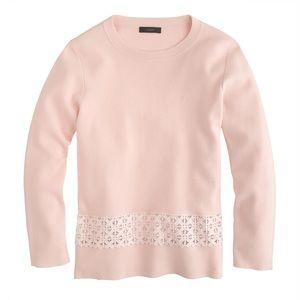 NEW J Crew Lace Hem Sweater XL Blush Pink